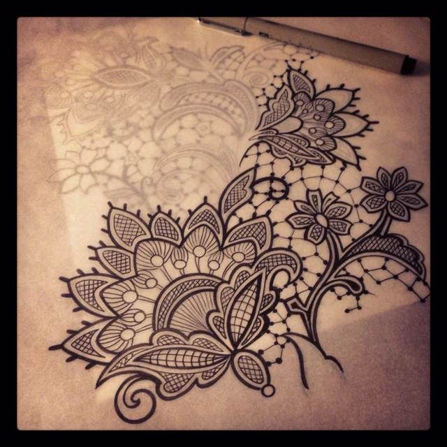 lace shoulder tattoo | lace tattoo