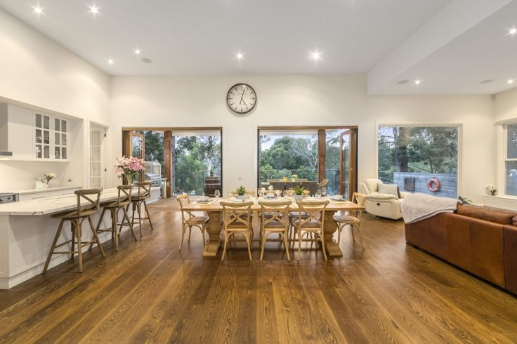 Kitchen, Dining and Living Zones, Contemporary Weatherboard on a Sloping Block
