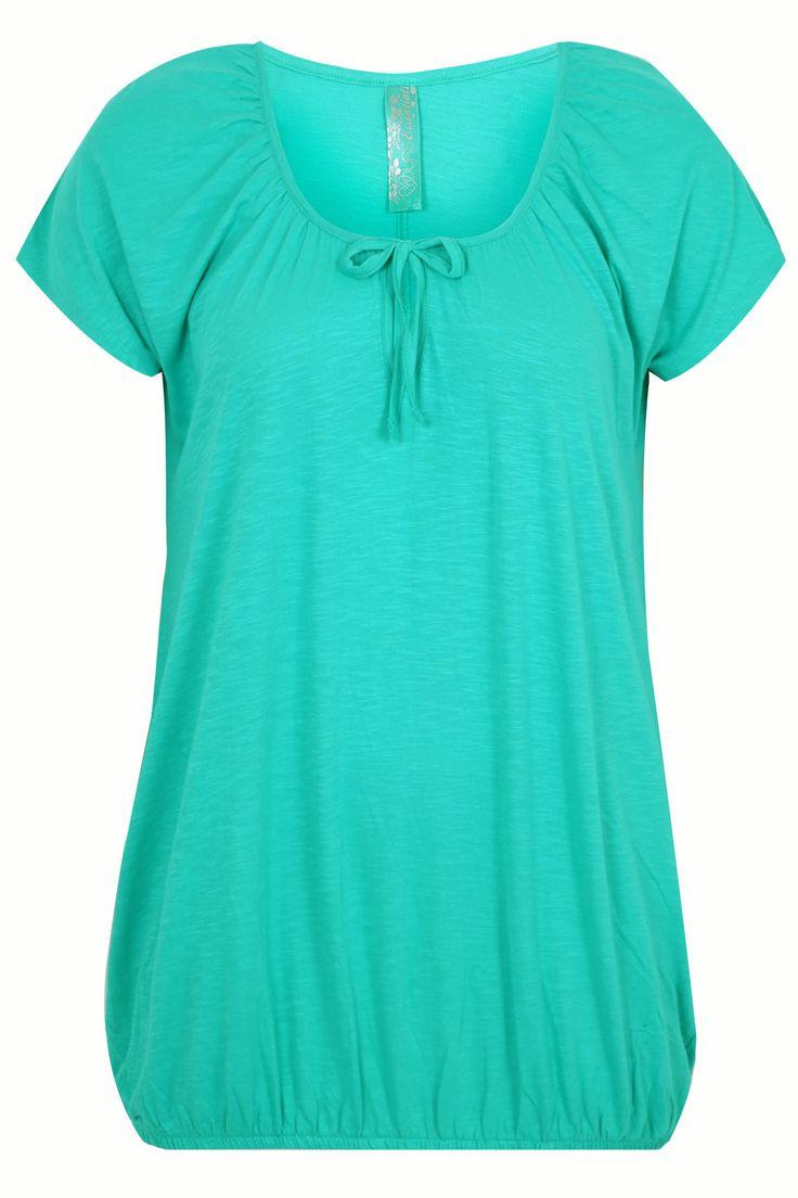 Jade Green Plain Basic Gypsy T-shirt With Bubble Hem