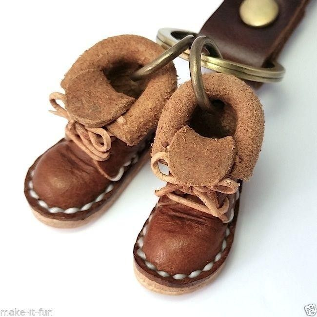 BROWN MINIATURE SHOES GENUINE LEATHER KEYCHAIN RING DWARF BOOTS HANDMADE | #1737694575