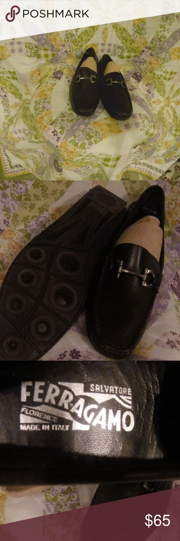 salvatore ferragamo ladies shoes new ladies size 8.5 italian leather loafer flat type shoes. unique design rubber outsole, gun metal color accents. A walk across town, or a test drive in a BMW? Be comfortable and stylish in these. Salvatore Ferragamo Shoes Flats & Loafers