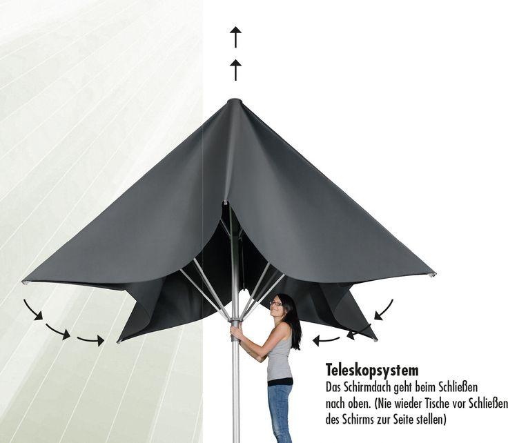 telescoop parasol horeca bij Tuinmeubelen.nl
