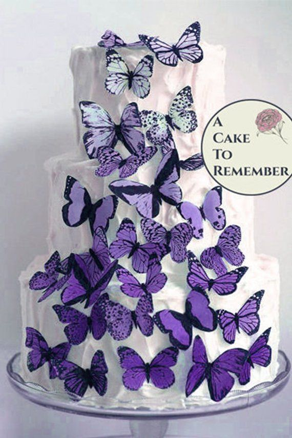 30 Edible Butterfly Cake Toppers Set Of Purple And Lavender Etsy Wafer Paper Butterflies Plain Wedding Cakes Wedding Cake Decorations