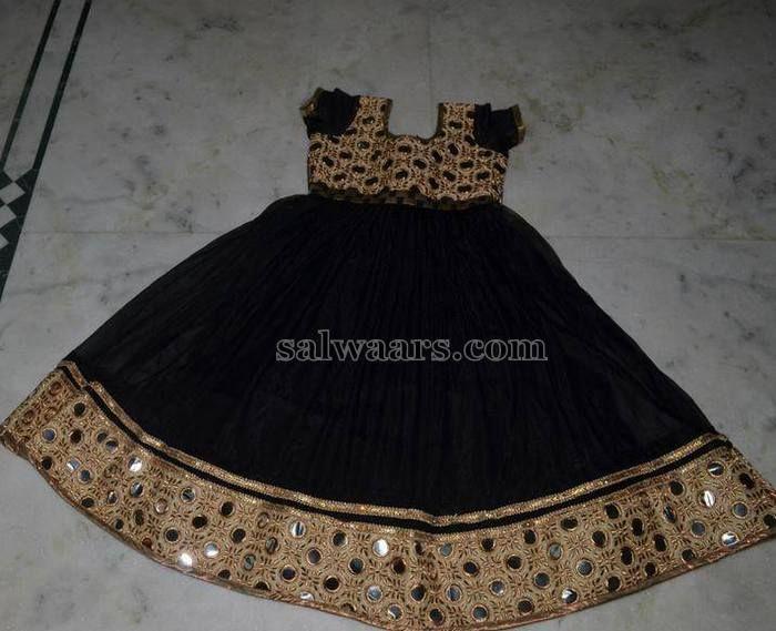 Black Mirror Work Lehenga - Indian Dresses