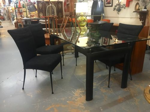Metal And Glass Bauhaus Dinner Table On Sale 72 Wide X 38 High Was
