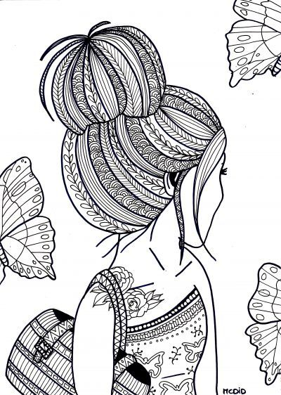 free coloring page for adults girl with tattoo gratis kleurplaat voor volwassenen meisje - Girls Coloring Pages