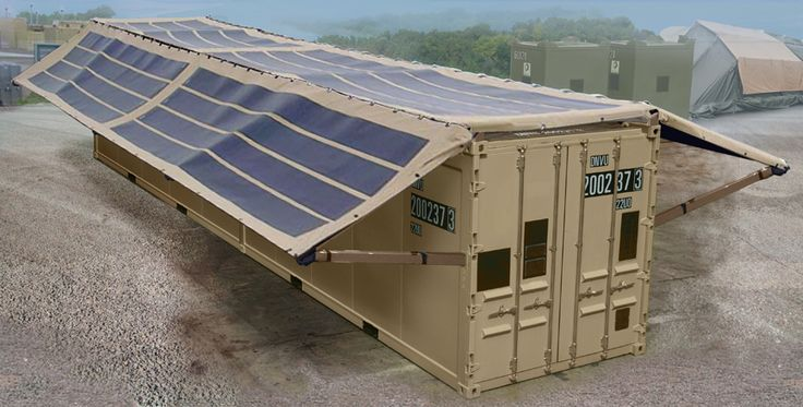 Containers With Roof Mounted Flexible Solar Panels