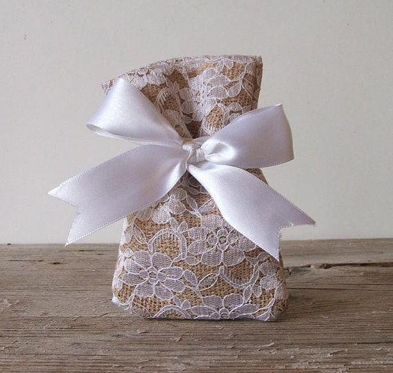 Rustic favor bags, (50 pc) burlap favor bags lace favor bag for rustic wedding, beach wedding, vintage wedding white bow on Etsy, $98.00