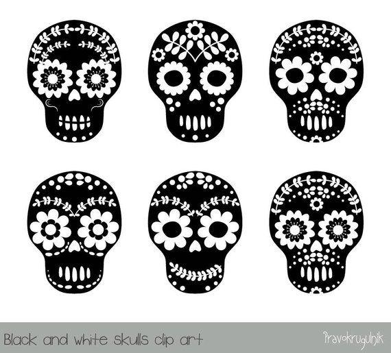Sugar Skull Clipart Black And White Flower Skull Clipart Day Etsy Halloween Clips Halloween Clipart Flower Skull