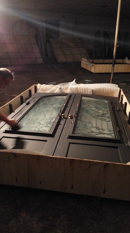 "custom design wrought iron doors 72""x96"" steel iron doors  glass open shipping to USA home address $3950"