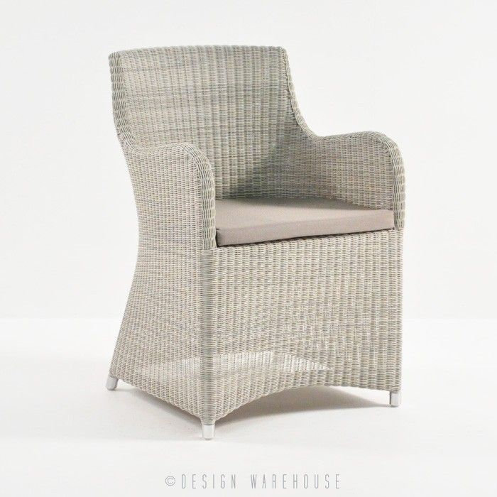 Moni Outdoor Wicker Dining Chair - Whitewash | Outdoor Wicker Furniture