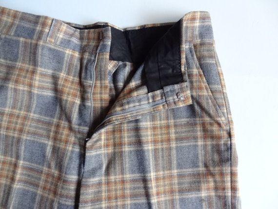 Mens Plaid Pants Grey and Marigold size 35 waist by RainbowRetro