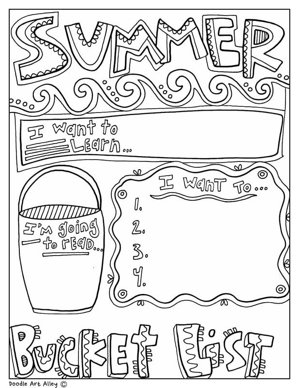 Summer Bucket List At Classroom Doodles From Doodle Art Alley Graphic Organizers Summer Bucket List Writing School Signs