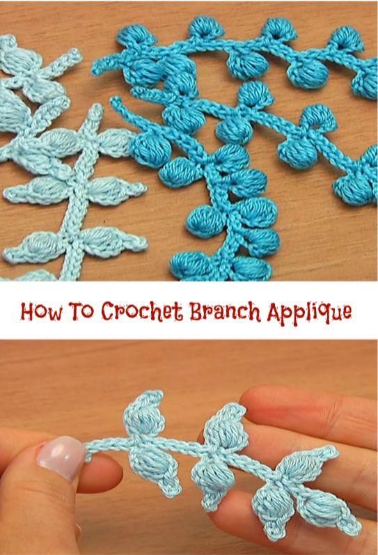 how to crochet branch applique