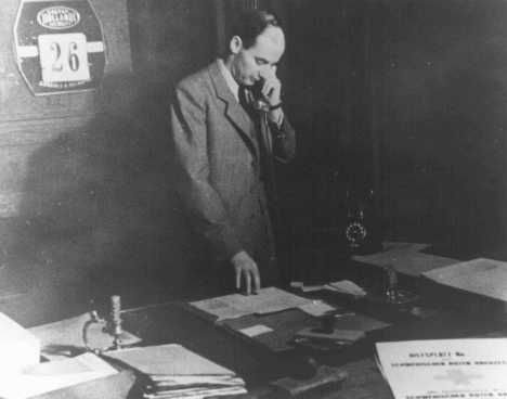 Raoul Wallenberg in his office in the Swedish legation. Budapest, Hungary, November 26, 1944.