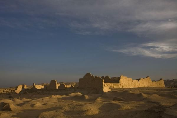 Picture of Jiaohe Ruins (China): Sun setting over one of the temples at Jiaohe Ruins