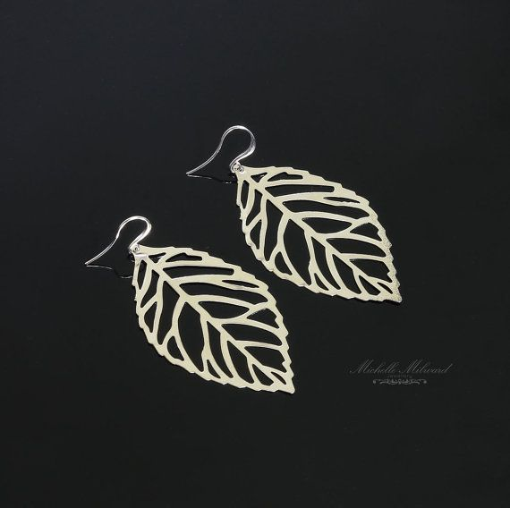 Large Silver Finish Feather Earrings by MichelleMilward on Etsy, $23.50