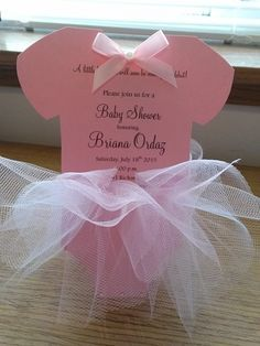 2.50 each This listing is for 10 invitations email me for a different quantity Pink onesie card approx. 7 1/4 x 4 Cute bow with pearl on center 3 little crystals resembling the little snaps on bottom