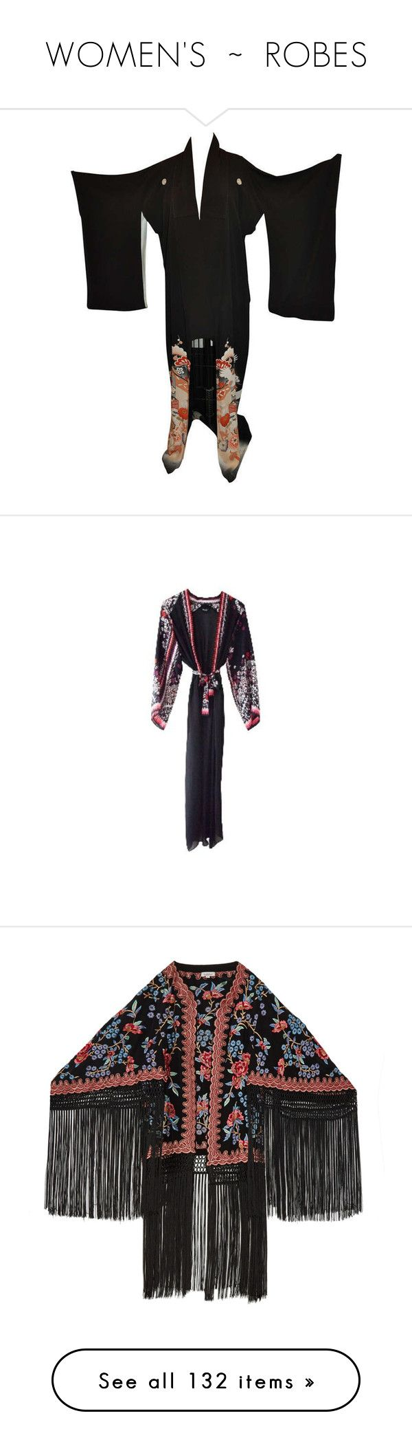"""""""WOMEN'S  ~  ROBES"""" by kuropirate ❤ liked on Polyvore featuring intimates, robes, multiple, kimono robe, silk kimono robe, silk robe, silk kimono, silk bathrobe, silk bath robes and robe kimono"""