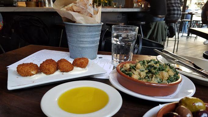 Barcelona wine bar atlanta - bread w oil, spinach chick pea