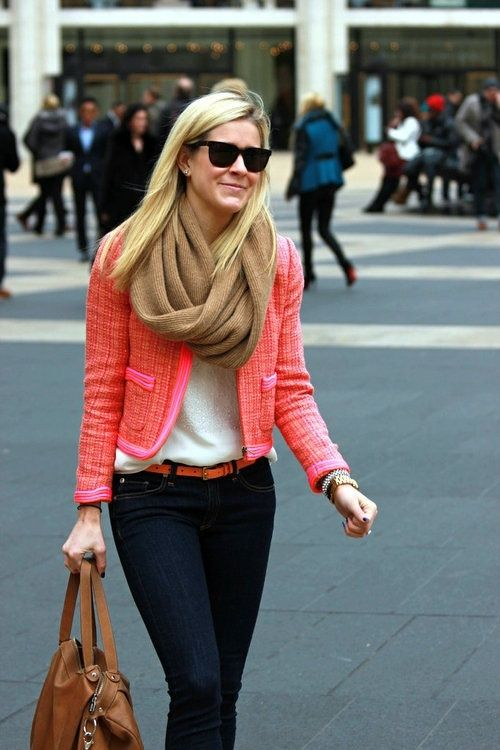 simple and cute- dark jeans, thin bright belt, white tank, pink jacket, brown scarf