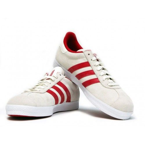Adidas Gazelle Cream with Red Stripe.  The classic Adidas Gazelle sneaker was originally released in 1968 and now re-launched as Adidas Gazelle II. Made from soft suede leather upper, vulcanised rubber sole and reinforced toe for a stable fit.
