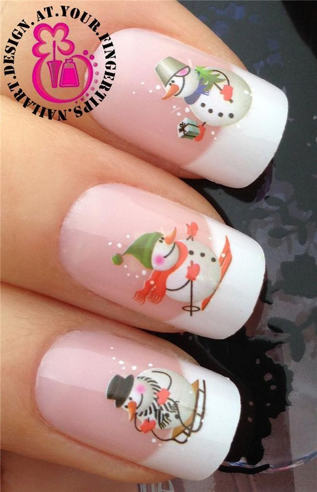 Nail art water transfer/stickers/decals christmas winter snowmen figures