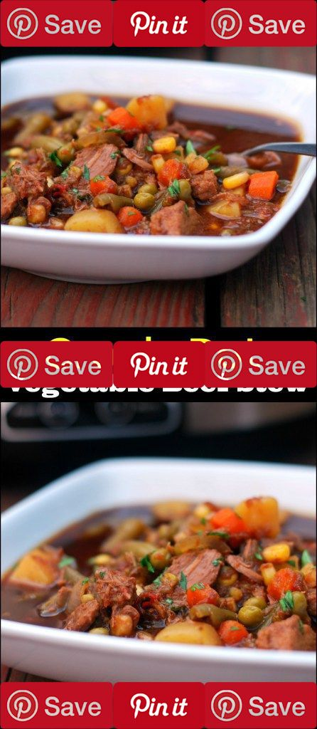 This Vegetable Beef Stew is a dump and go crock pot recipe that cooks on low for 10 hours so it's perfect for days when you have to be out of the house for a long time.  The flavor is AMAZING and comfort food at it's best!  Definitely a keeper!  #Important