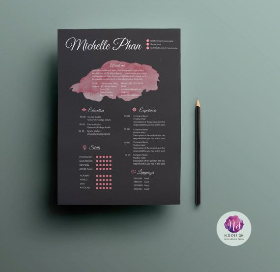 Elegant , chic resume package with 2 color options including CV templates, cover letter & references templates