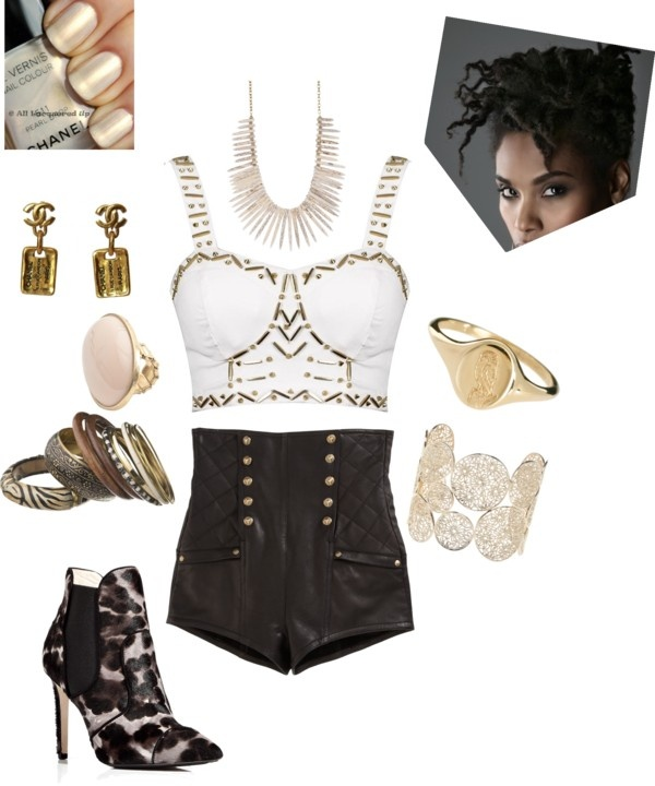 """Chanel Fierce"" by amber-jael on Polyvore...Studded Diva Bralet ($20), Balmain High Waisted Shorts ($3,985), Emilio Pucci Pony Hair Ankle Boots ($1,740), African Bangle Stack ($26), Isharya Daisy Disc Filligree Bangle ($298), Laura Lee Engraved Owl Ring ($621), Yochi Ivory Spiky Necklace ($88), Bijou Brigitte Pastel Ring ($12), Chanel Earrings (price available upon request), Chanel Nail Polish in ""Pearl Drop - Spring 2011"" (price available upon request), and a natural hair updo. $6,790.00"