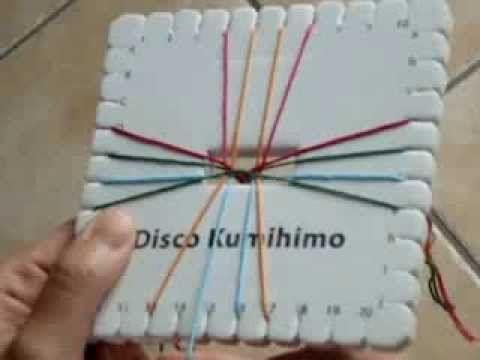 KUMIHIMO XXI: plana espigas multicolor - YouTube