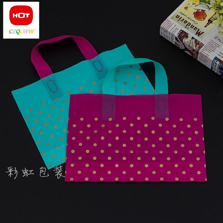 20pcs/lots Hot Sale green/pink dots Wholesale Shopping Bags Plastic Gift Bags clothing bags #Affiliate