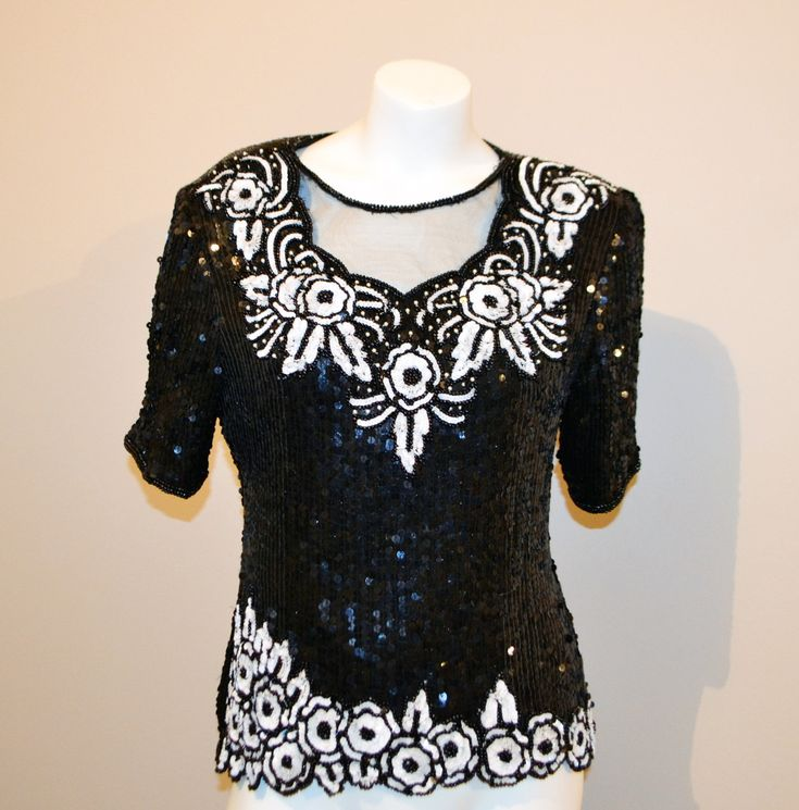 Vintage Sequin Blouse Glitz with White by CheekyVintageCloset on Etsy
