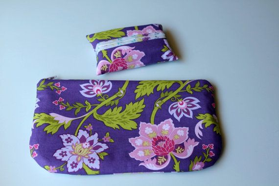 Clutch Purse and Tissue Pouch Set purple floral by SqueezeCuddles