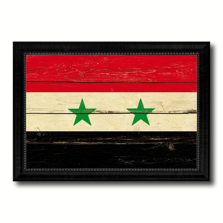 Syria Country Flag Vintage Canvas Print with Black Picture Frame Home Decor Gifts Wall Art Decoration Artwork