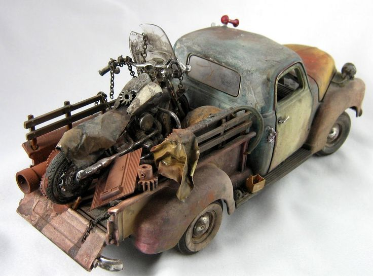 Just a car guy : Samuel Addison miniature model automotive art... excellent detail and aging technique!