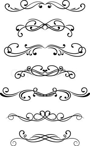 Simple Scroll Designs Could use a scroll patterns swirls vectorized fretwork modern contemporary fancy borders set calligraphic embellishments