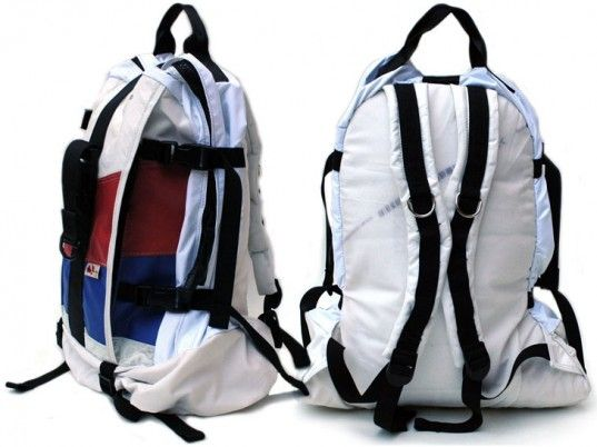 Durable backpack carryalls made from recycled car upholstery and exploded air bags.