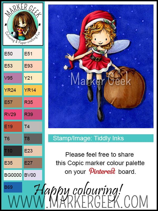 Tiddly Inks Clear Stamps - Willow Christmas Fairy - Copic marker colour palette | Marker Geek #tiddlyinks #copic #markers #colouring