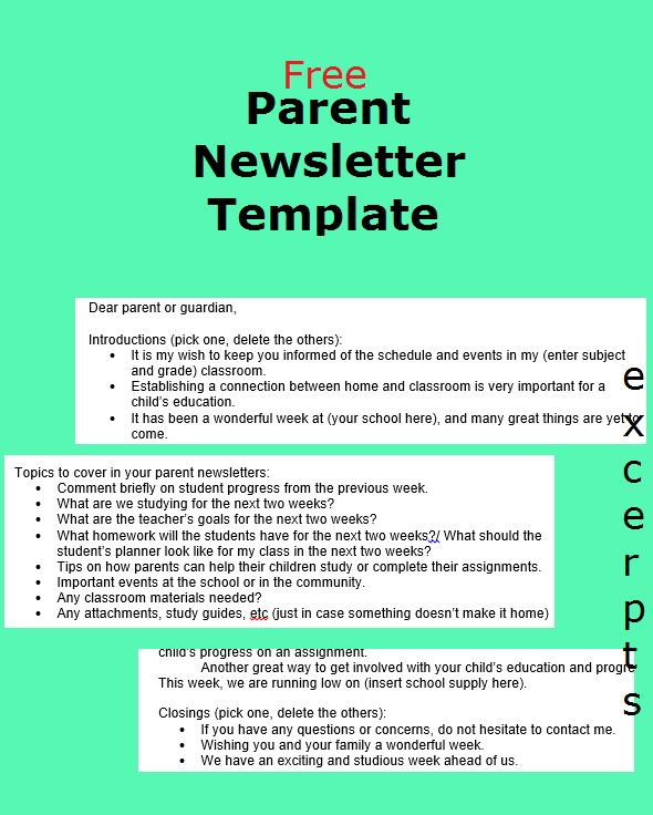 JessDiscover: Parent Newsletter Template - free