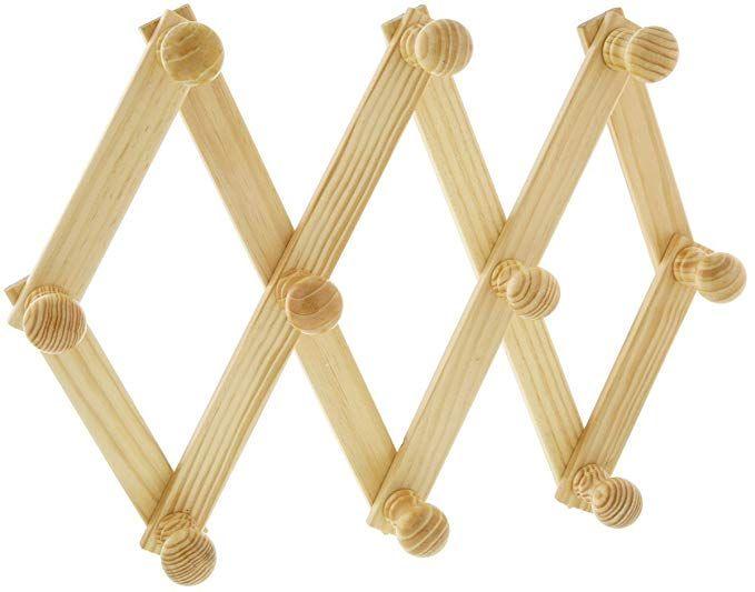 Amazon Com Chris Wang 2pack Expandable Adjustable Folding 10 Peg Wooden Hanging Storage Organizer U Wall Mounted Coat Rack Utility Hooks Wooden Pegs