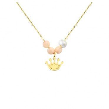 Ένα χαριτωμένο κολιέ κορώνα από χρυσό Κ14 με μαργαριτάρι και ροζ κοράλλια σε γυαλιστερό φινίρισμα | Κολιέ ΤΣΑΛΔΑΡΗΣ στο Χαλάνδρι #κορώνα #μαργαριτάρι #κοράλλι #χρυσό #κολιέ