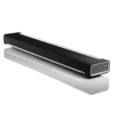 """The Sonos Playbar.  Epic full-theater sound.  Sophisticated 9-speaker design.  Angled Left and Right tweeters.  Each speaker driven by a Class D amplifier.  """"Night Mode"""" boosts clarity at lower volumes."""