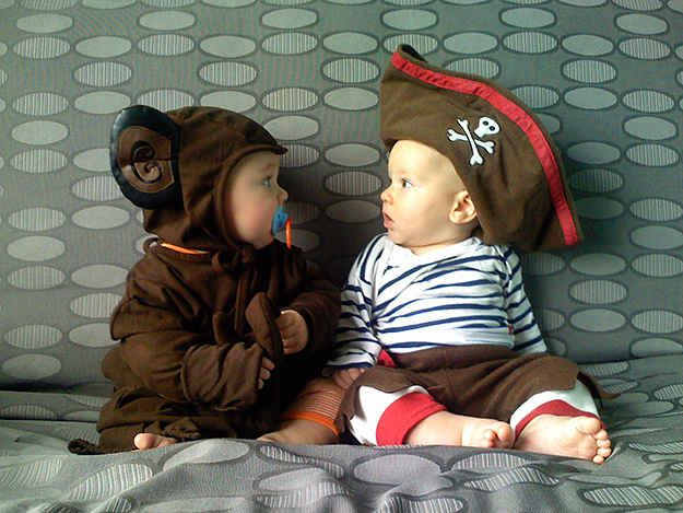 This unlikely friendship between a monkey and a pirate: | 19 Adorably Unique Baby Costumes
