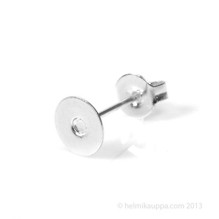 Korvakorutappi 12 mm, tasapohja 6 mm + lukko, hopeoitu.