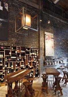 Wine bar - bar back shelving
