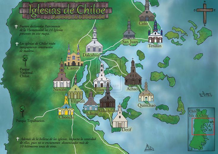 Chiloe churches map - Chile