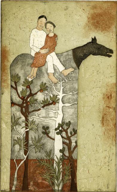 Piia Lehti: Metsän sylissä / In the Forest´s Arms, etching, 2005