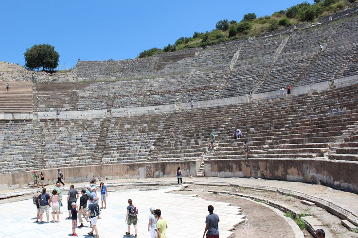 The Main Amphitheater in Ephesus.  In its prime it could seat almost 20,000.  This site is discussed in the Bible in Acts 19:23-41 when the makers of idols to Artemis raised a ruckus against the Apostle Paul.