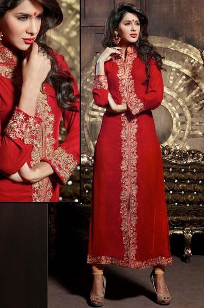 USD 120.64 Red Velvet Flower Lace Jacket Type Party Wear Suit  40961